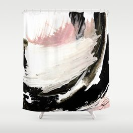 Crash: an abstract mixed media piece in black white and pink Shower Curtain