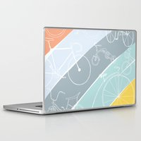 bikes Laptop & iPad Skins featuring Bikes Bikes Bikes by Badger & Bee