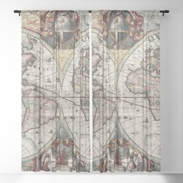 Vintage Maps Of The World Sheer Curtain