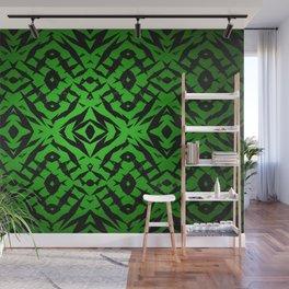Green tribal shapes pattern Wall Mural