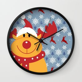 Rudolph and Christmas Cheer Wall Clock