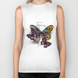 Fashion art print with colorful tropical butterly Biker Tank
