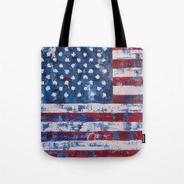 Distressed American Flag vertical hang Tote Bag
