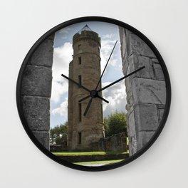 Tower Through The Rain  Wall Clock