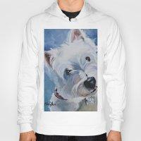 westie Hoodies featuring Westie Named Tavin by Karren Garces Pet Art
