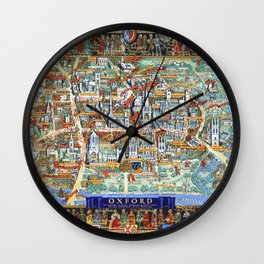 OXFORD university map ENGLAND dorm decor Wall Clock