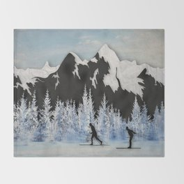 Cross Country Skiing Throw Blanket