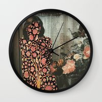 karen hallion Wall Clocks featuring Karen by Mariano Peccinetti