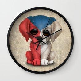 Cute Puppy Dog with flag of Czech Republic Wall Clock