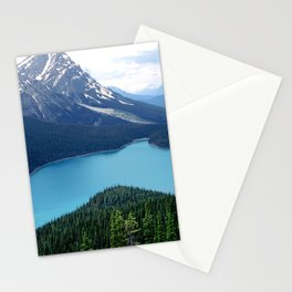 Canada's Spectacular Peyto Lake Amidst Snowy Mountains Stationery Cards