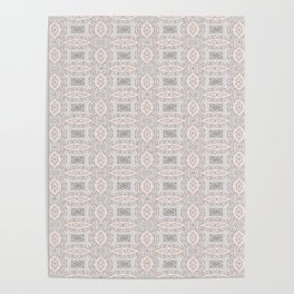 Pink and Grey Soft Pattern Print Poster