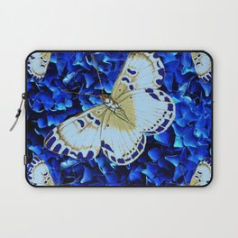 WHITE-PURPLE BUTTERFLIES BLUE MODERN ART Laptop Sleeve