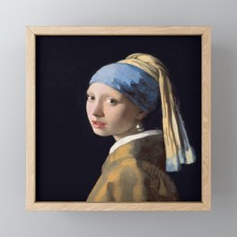 Vermeer, Girl with a Pearl Earring,Meisje met de parel,La joven de la perla Framed Mini Art Print