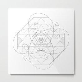 Fibonacci Geometric Mandala Metal Print