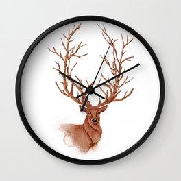 Hand drawn watercolor illustration of beautiful deer Wall Clock