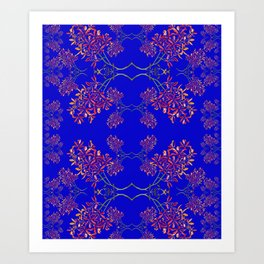 Orchids on Blue Art Print