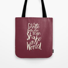 Kindness Quote by Gandhi  on Satyagraha (red version) Tote Bag