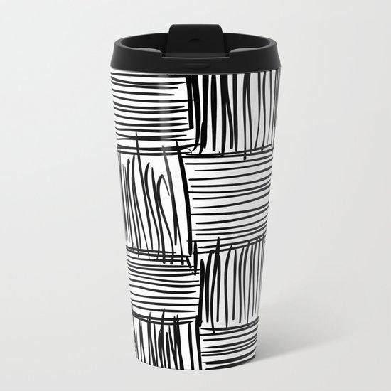 Modern Square Black on White Metal Travel Mug