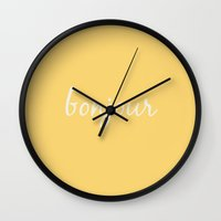 bonjour Wall Clocks featuring Bonjour by Megan Louise