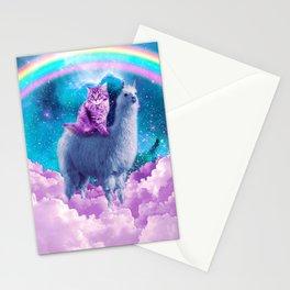 Rainbow Llama - Cat Llama Stationery Cards