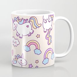 Cute unicorn pattern with heart and rainbow. Magic and fairy tale collection. Coffee Mug