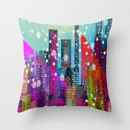 Snowy Stylized City Throw Pillow
