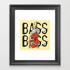 Cat Playing A Double Bass Framed Art Print