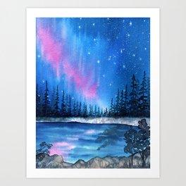 """Lavender Lights"" Aurora Borealis watercolor painting Art Print"