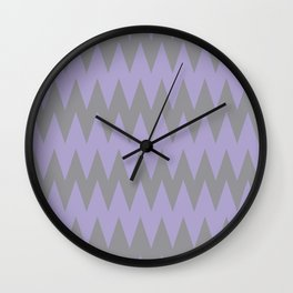 Zigzag Line Pattern Color of the Year 2021 Ultimate Gray 17-5104 and Lavender 15-3817 Purple Wall Clock