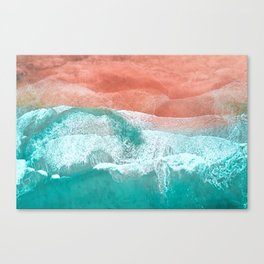 The Break - Turquoise Sea Pastel Pink Beach Canvas Print