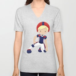 American Football, Cute Boy, Blond Hair, Rugby Unisex V-Neck