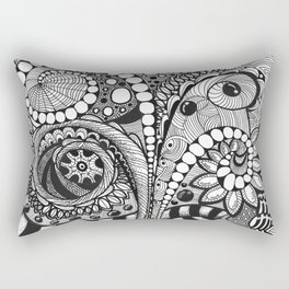 Abstract monochrome drawing inspired by zentangle patterns Rectangular Pillow
