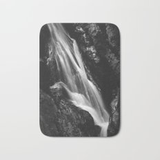 Black and white waterfall in Hell Gorge, Slovenia Bath Mat