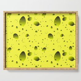 Large yellow drops and petals on a light background in nacre. Serving Tray