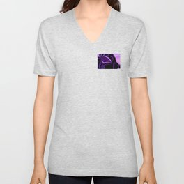 purple tropical flower abstract digital painting Unisex V-Neck