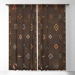 Brown Bohemian Traditional Moroccan Vintage Artwork (N25) Blackout Curtain