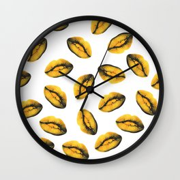 Golden Kiss Lips Wall Clock