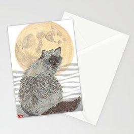 CAT, Moon, Mixed Media Stationery Cards