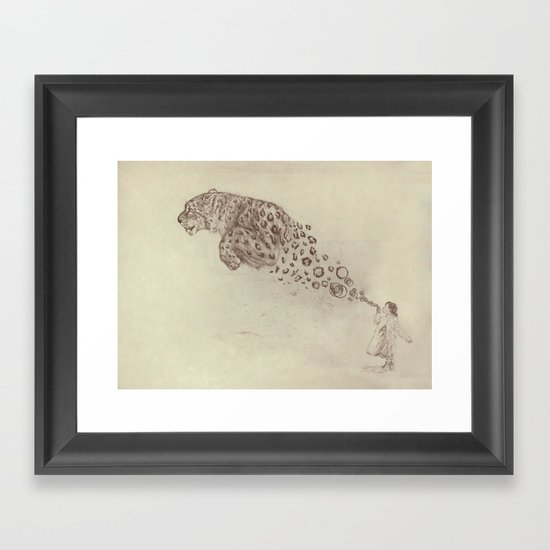 Bubbles the Snow Leopard Framed Art Print