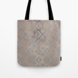 Modern elegant gray gold foil geometrical gradient Tote Bag