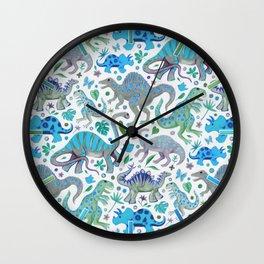 Happy Dinos - blue green Wall Clock