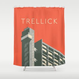 Trellick Tower London Brutalist Architecture - Text Red Shower Curtain