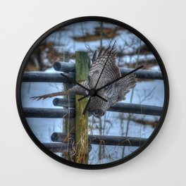 Dive, Dive, Dive! - Great Grey Owl Hunting Wall Clock