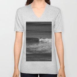 Surfer in Black and White Unisex V-Neck