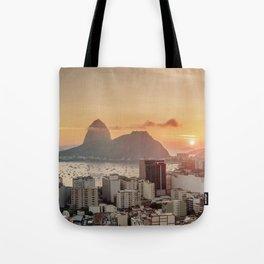 View over Botafogo towards the Sugarloaf Mountain at sunrise, Rio de Janeiro, Brazil Tote Bag