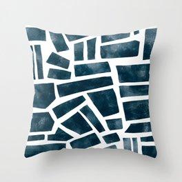 abtract indigo tile pattern Throw Pillow