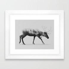 Reindeer (black & white version) Framed Art Print