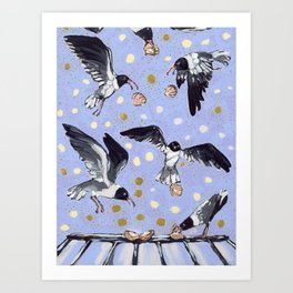 Gulls Cracking Shells on Roof Art Print