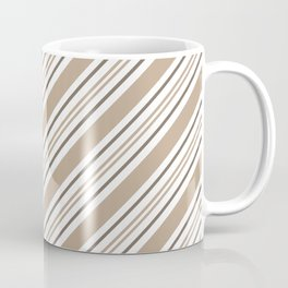 Pantone Hazelnut Nutmeg and White Thick and Thin Angled Lines - Stripes Coffee Mug