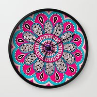 mod Wall Clocks featuring Mod Flower by PeriwinklePeacoat